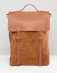 Asos Leather And Suede Mix Backpack In Tan Tan
