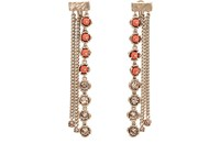 Koche Crystal And Bead Embellished Drop Earrings Pink
