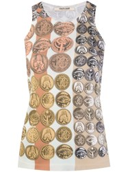 Roberto Cavalli Stripes And Coins Knitted Tank Top Neutrals