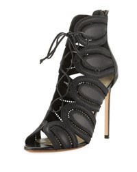Francesco Russo Leather Caged 105Mm Bootie Black Nero