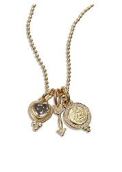 Temple St. Clair Rock Crystal Diamond And 18K Yellow Gold Amore Triple Charm Necklace