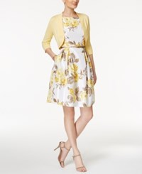 Jessica Howard Petite Floral Print Fit And Flare Dress And Sweater Shrug White Yellow