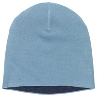 Winser London Double Face Wool Blend Beanie Hat One Size Duck Egg Midnight Navy