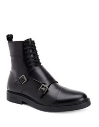 Calvin Klein Davis Matte Box Leather Double Monk Strap Boots Black