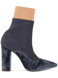 Lalo Pointed Toe Ankle Boots Blue
