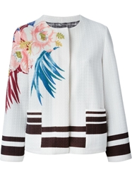 Etro Flower Print Knitted Jacket White