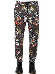Love Moschino Tattoo Print Cotton Blend Jogging Pants