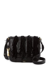 Fossil Leather Double Flap Crossbody Black