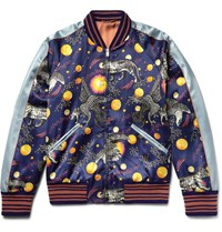 Gucci Space Animals Slim Fit Printed Satin Bomber Jacket Navy