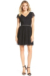As U Wish Peekaboo Lace Skater Dress Black