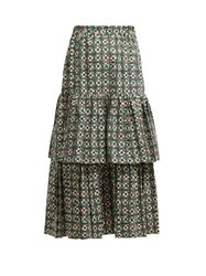 Golden Goose Deluxe Brand Floral Print Gathered Tiered Skirt Green Print