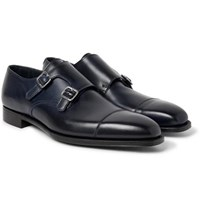 George Cleverley Thomas Leather Monk Strap Shoes Midnight Blue