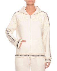 Ermanno Scervino Zip Front Hooded Wool Jersey Hoodie Track Jacket W Embroidery Ivory