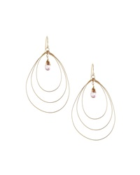 Rafia 3 Hoop Teardrop Earrings W Pink Topaz Center Golden