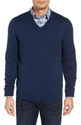 Nordstrom Men's Big And Tall Men's Shop Cotton And Cashmere V Neck Sweater Navy Iris Heather