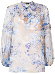 Les Copains Pussy Bow Floral Blouse Nude And Neutrals