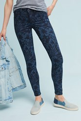Anthropologie Level 99 Janice Mid Rise Floral Skinny Jeans Blue Motif