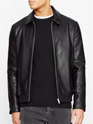 Reiss Nicholas Collared Leather Bomber Jacket Black