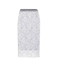 Ganni Ayame Embroidered Lace Skirt Blue