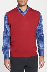 Men's Cutter And Buck 'Douglas' Merino Wool Blend V Neck Sweater Vest Stewart Red