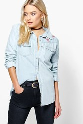 Boohoo Embroidered Denim Shirt Blue