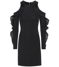 David Koma Ruffled Open Shoulder Dress Black