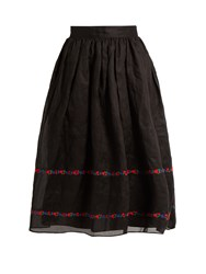 Jupe By Jackie Seven And Seven Embroidered Cotton Organdy Skirt Black