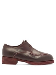 Guidi Contrast Topstitching Leather Derby Shoes Burgundy