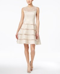 Jax Beaded Embossed Illusion Fit And Flare Dress Champagne