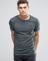 Asos Muscle T Shirt With Embroidery In Green Marl Green Gables Marl