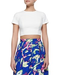 Shoshanna Edna Short Sleeve Crop Top Ivory