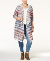 American Rag Trendy Plus Size Striped Cardigan Only At Macy's Dark Denim