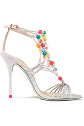 Sophia Webster Arielle Beaded Woven Leather Sandals Pastel Orange