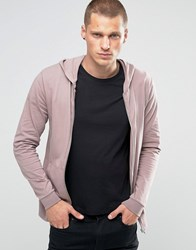 Asos Light Weight Jersey Muscle Zip Up Hoodie In Purple Sibo Pink