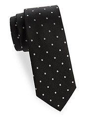 Saks Fifth Avenue Dot Print Silk Tie Black