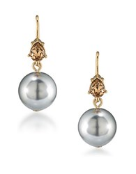 Carolee 12K Goldplated 8Mm Faux Pearl Double Drop Earrings