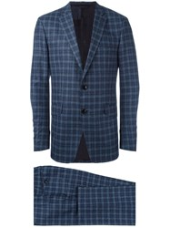 Etro Checked Suit Blue