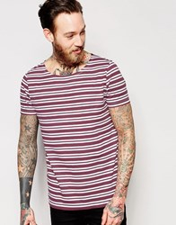 Asos Stripe T Shirt With Boat Neck In Burgundy Burgundy White Red