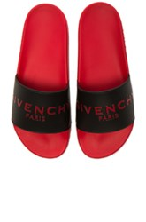 Givenchy Slide Flat Sandals In Black Red Black Red