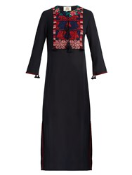 Figue Josefina Embroidered Crepe Midi Dress Navy