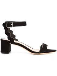 Loeffler Randall Emi Sandals Women Leather Suede 6.5 Black