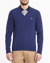 Lacoste Royal Blue Crocodile Logo New Wool V Neck Sweater