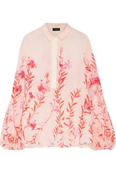Giambattista Valli Floral Print Silk Chiffon Blouse Neutral