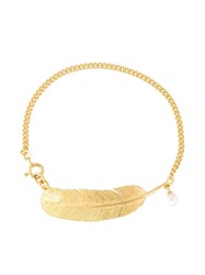 Wouters And Hendrix 'My Favourite' Feather Pearl Bracelet Metallic