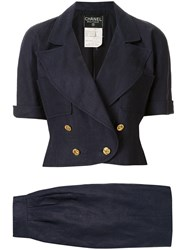 Chanel Pre Owned Peaked Double Breasted Skirt Suit 60
