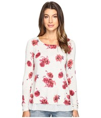 Lucky Brand Open Floral Pullover Sweater Grey Multi Women's Sweater Gray