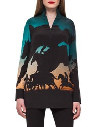 Akris Turf Print Silk Crepe Tunic Top Multi Multi Colors