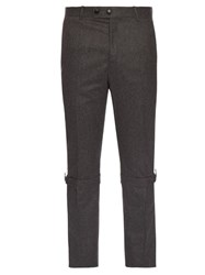Alexander Mcqueen Harness Cuff Slim Leg Wool Trousers Grey