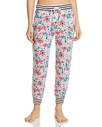 Jane And Bleecker New York Floral Striped Jogger Pants White Floral