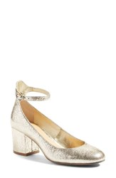 Women's Bp. Ankle Strap Block Heel Pump Gold Crackle Faux Leather